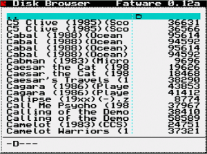 Disk Browser menu from the DivIDE hardware, running on a real Spectrum. Click the picture for a bigger view
