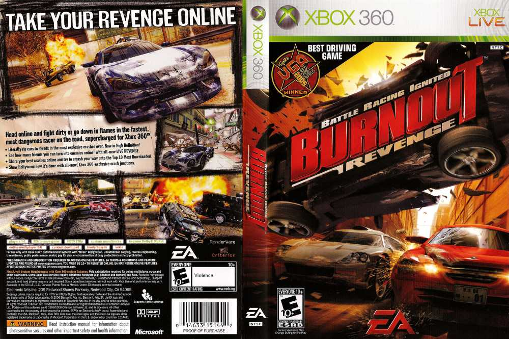 Burnout Revenge Battle Racing Ignited XBOX 360 VideoGameX