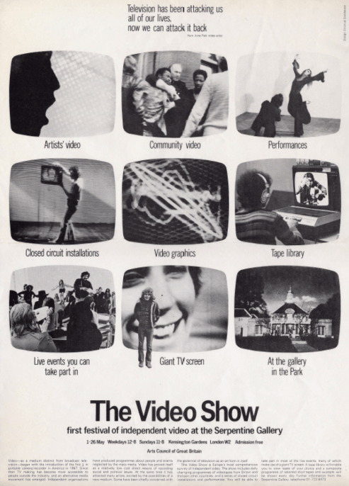 Flyer fra The Video Show ved Serpentine Gallery i 1975.