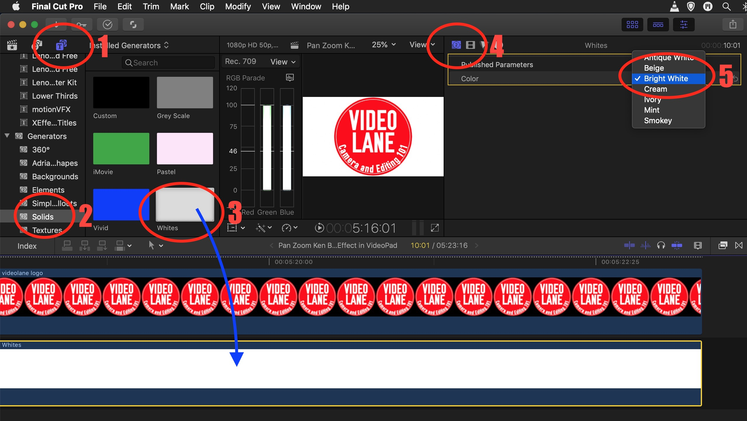 How to Add a White Background in Final Cut Pro X - VIDEOLANE ⏩