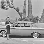 1960 car exterior monochrome
