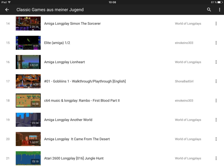"""Meine YouTube Playlist """"Classic Games aus meiner Jugend"""". (Bild: Daniel Wagner)"""