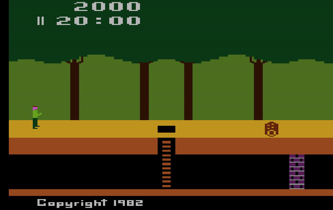 Pitfall! - Diesen Bildschirmausschnitt sieht der Spieler, wenn das Spiel beginnt.