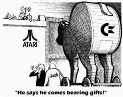 Karikatur aus einer amerikanischen Zeitung über den Kauf von Atari durch Jack Tramiel. (Bild: Atari)