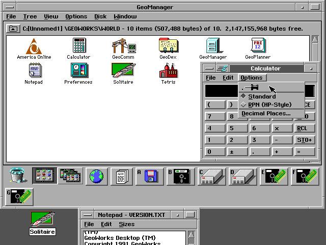 GeoWorks (PC/GEOS) Version 1.2 (Bild: GUI Gallery)