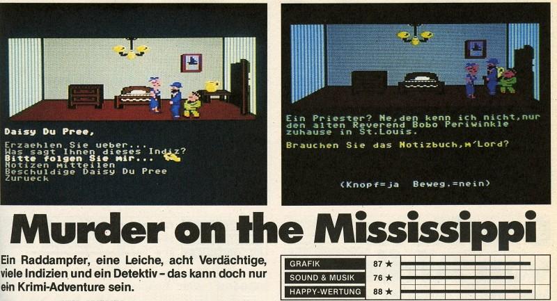 Der Test zum Spiel Murder on the Mississippi aus dem Happy Computer Spiele Sonderheft Nr. 2. (Bild: Markt & Technik)
