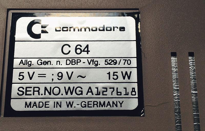 Commodore 64, WG-A (1983), SERIENNUMMER. (Bild: Stefan Vogt)