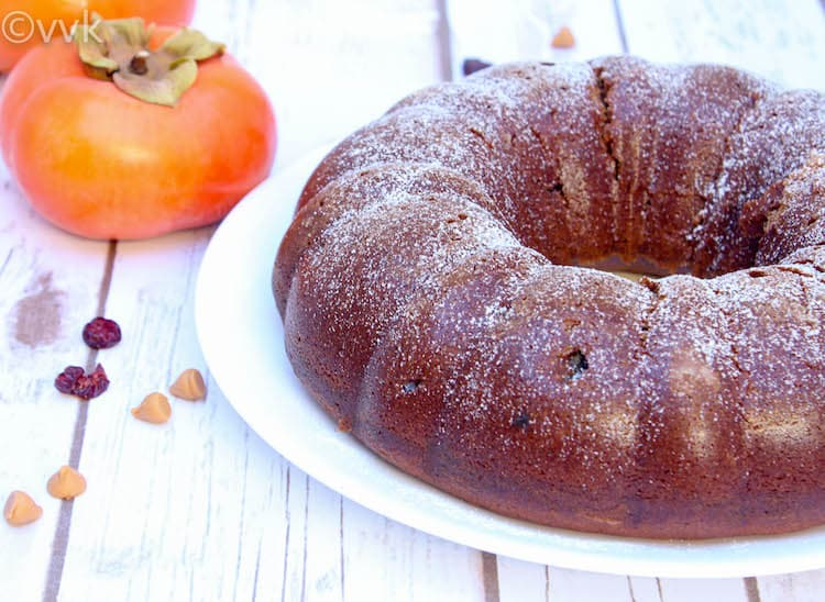 Eggless Persimmon Bundt Cake