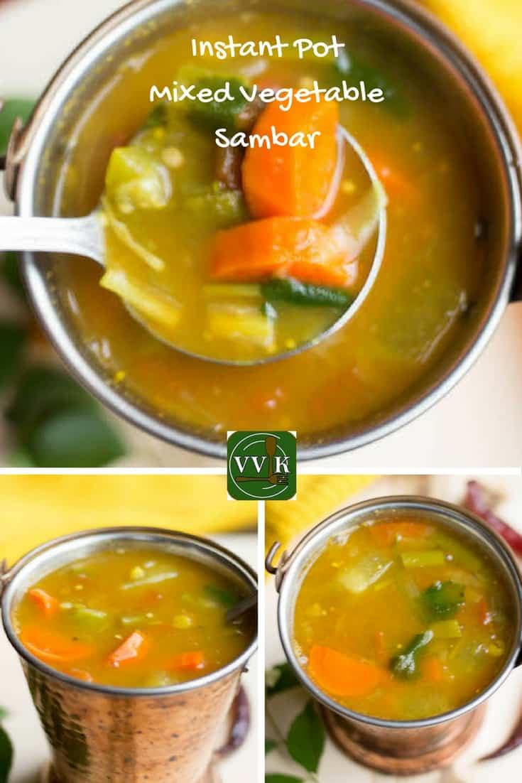 Instant Pot Mixed Vegetable Sambar Collage