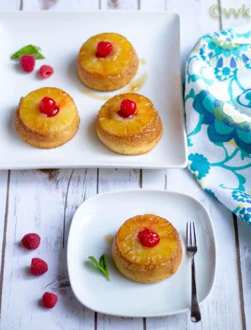 Eggless Upside Down Pineapple Cake