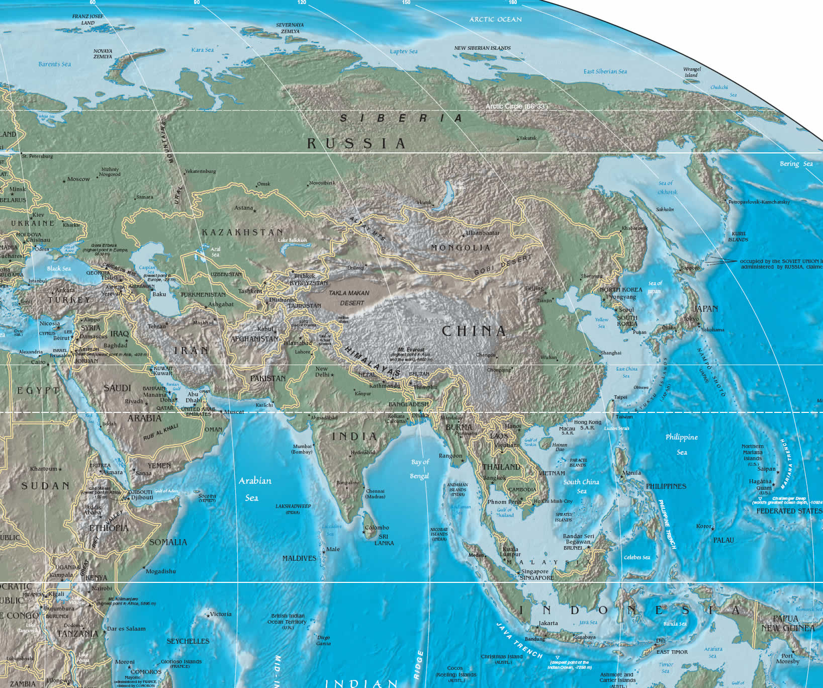Large Physical And Relief Map Of Asia Asia Large Physical