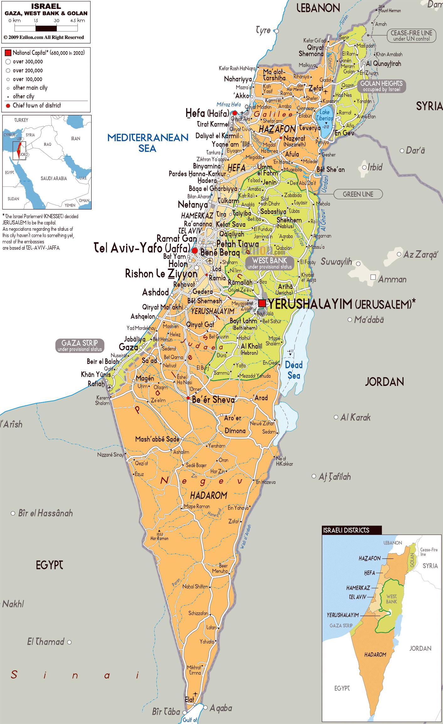Israel Karte Stadte