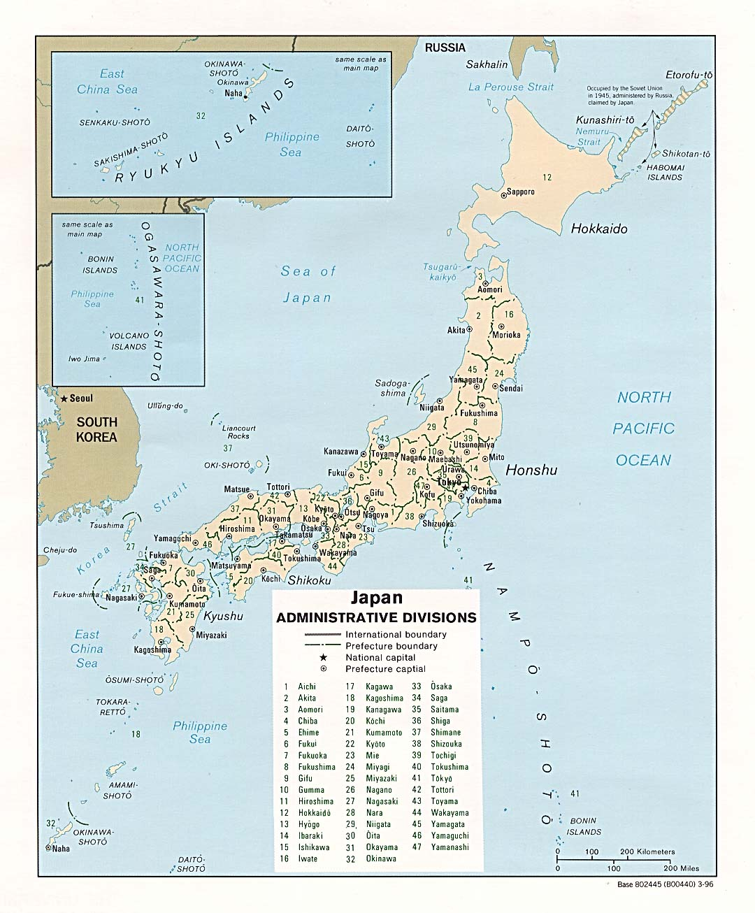 Large Detailed Political And Administrative Map Of Japan