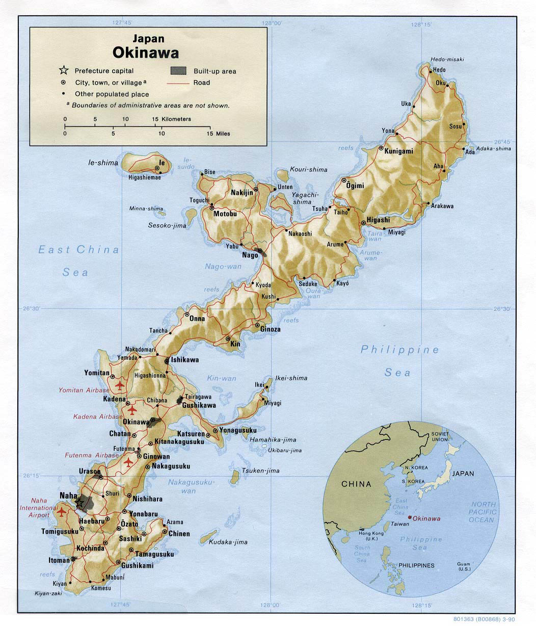 Large Detailed Relief And Road Map Of Okinawa Okinawa
