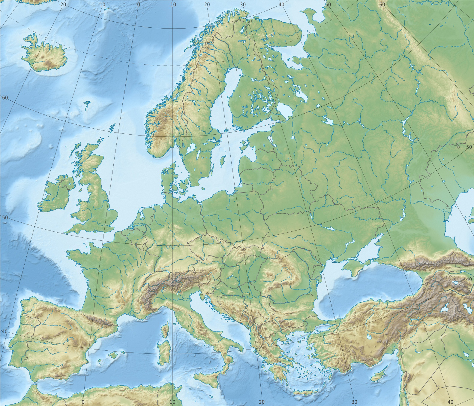 RELIEF MAP OF EUROPE MOUNTAIN RANGES Little Mir s