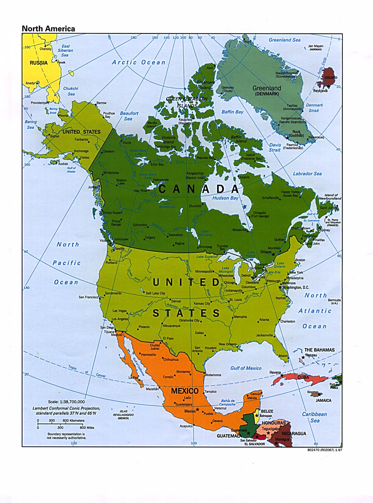 Large Political Map Of North America North America Large