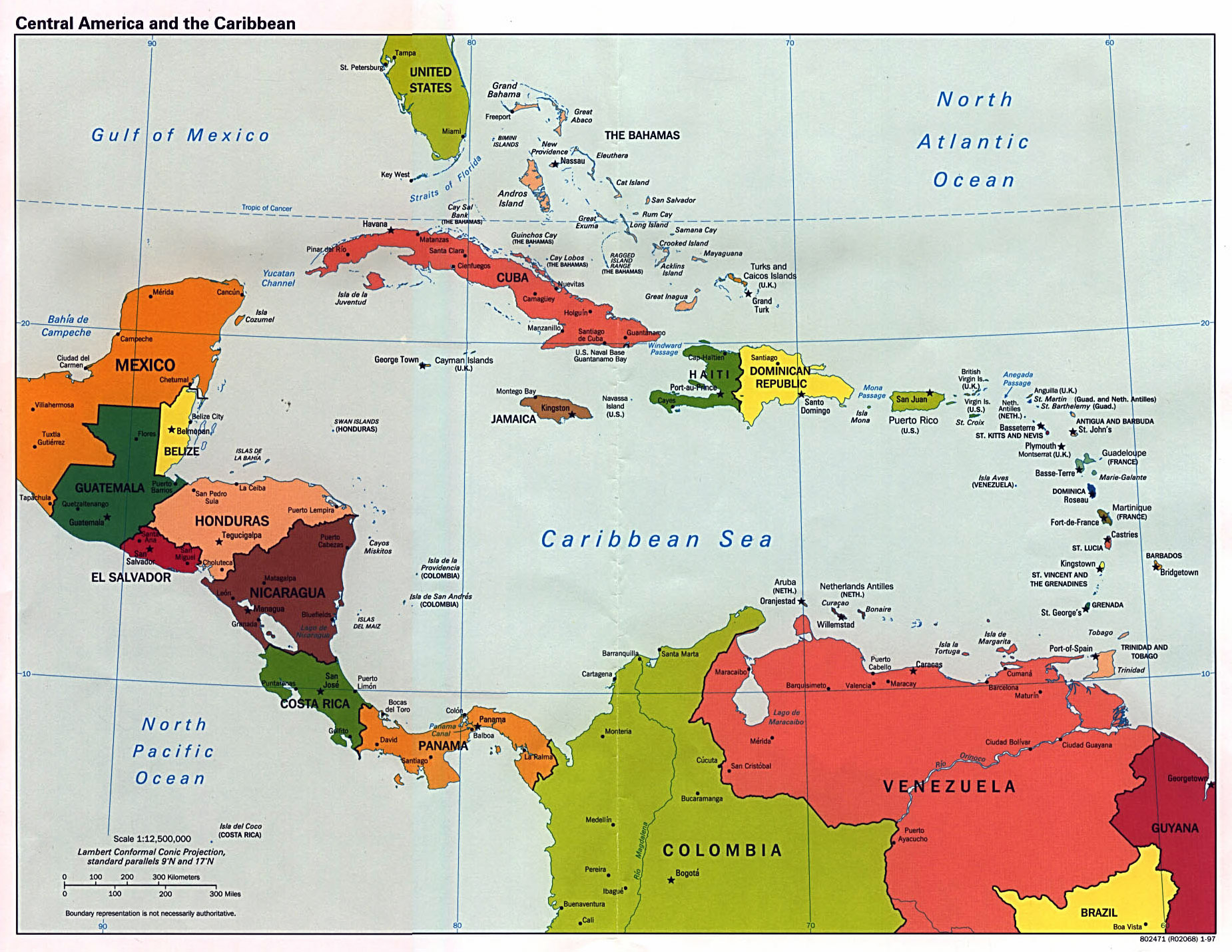 Central American Countries And Capitals North