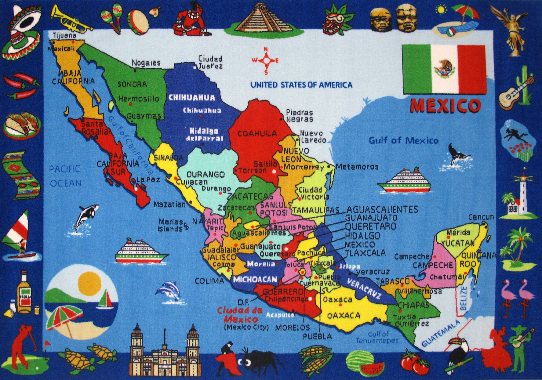 Large Detailed Tourist Illustrated Map Of Mexico Mexico