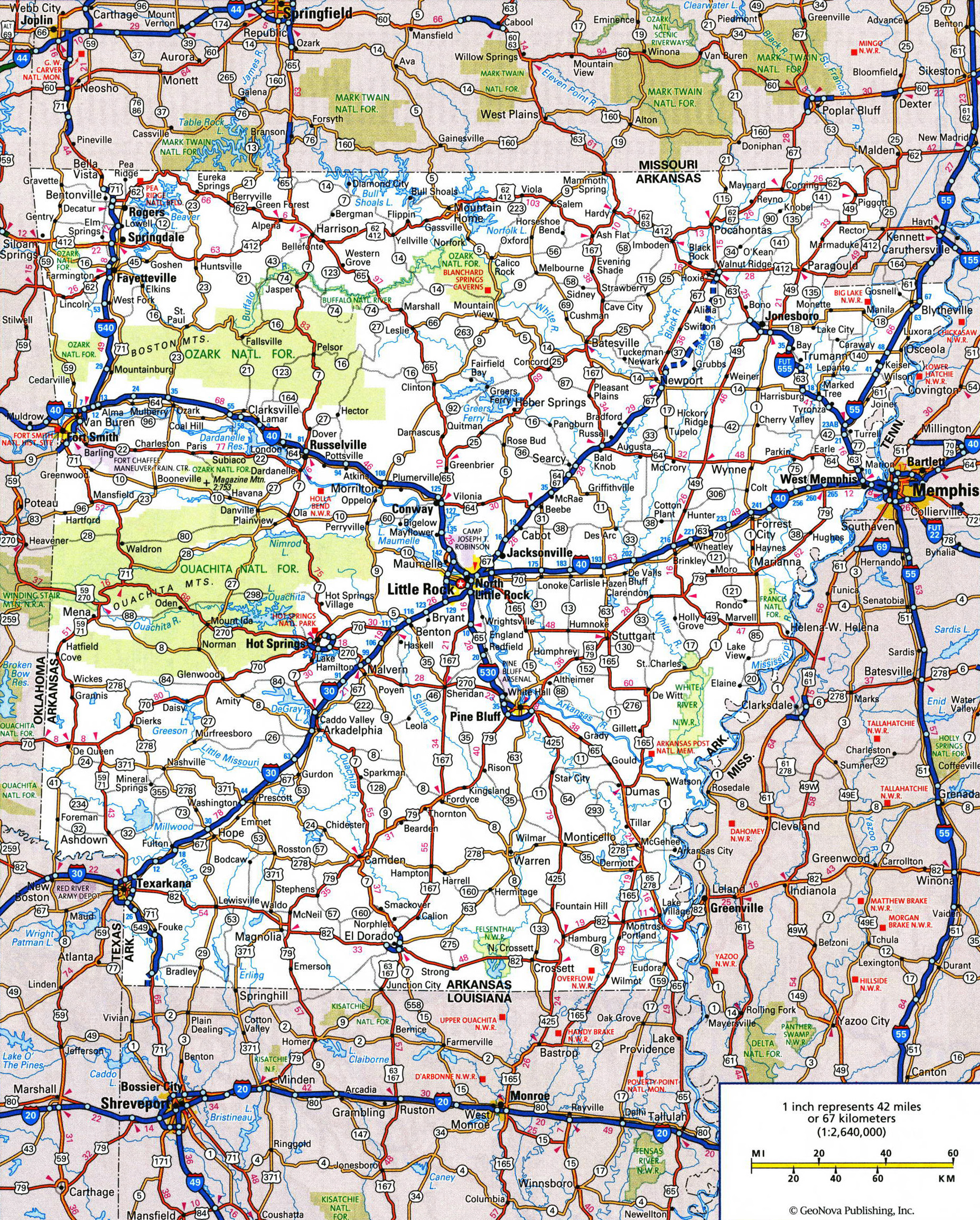 Large Detailed Roads And Highways Map Of Arkansas State