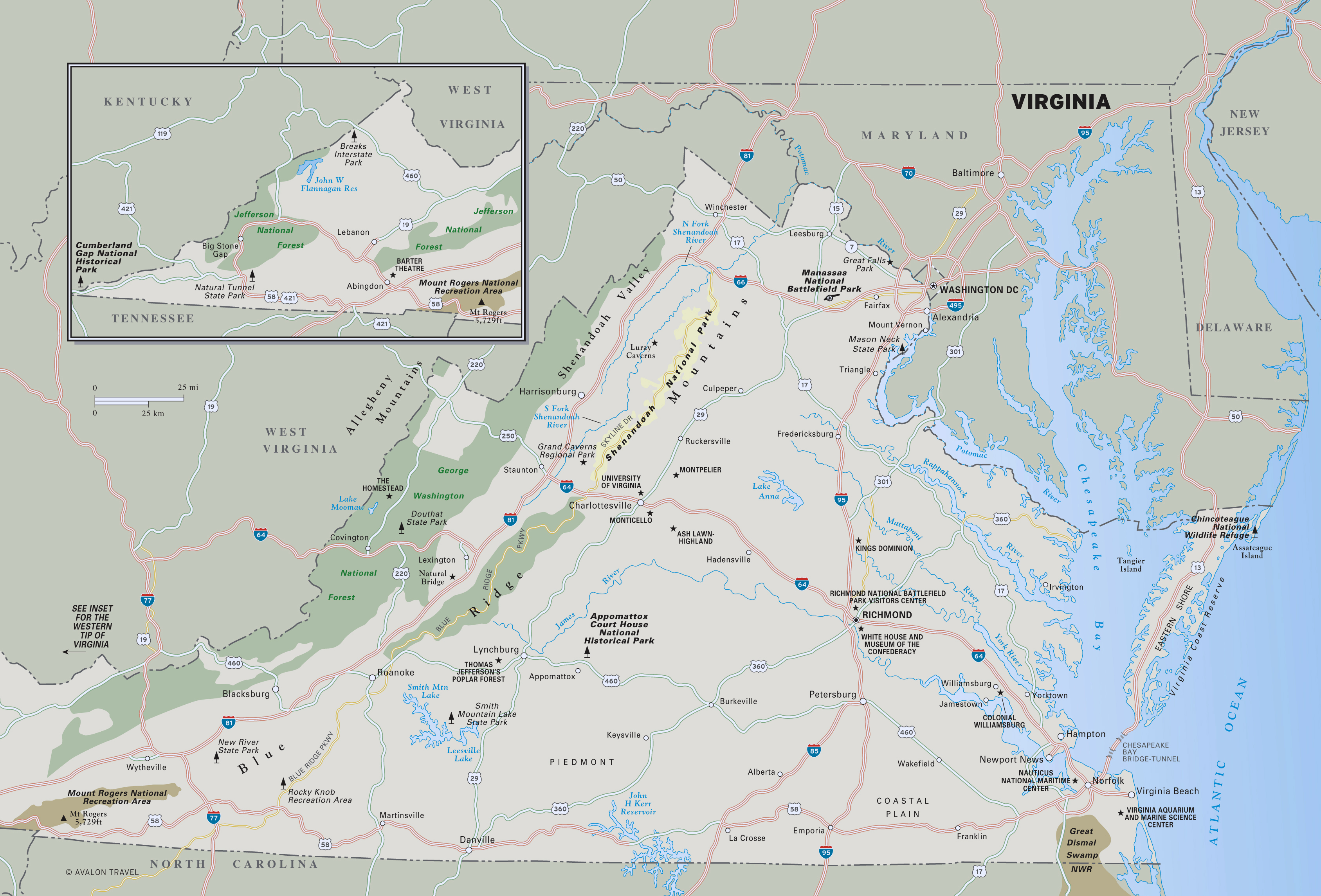Large Detailed Map Of Virginia State With National Parks