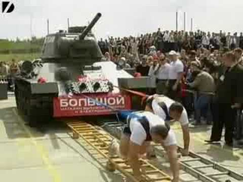 Two Guys Pull A 30-Ton Tank