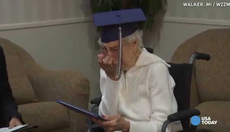 97 Year Old Tearfully Accepts Her High School Diploma