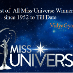 List of  All Miss Universe Winners since 1952 to Till Date