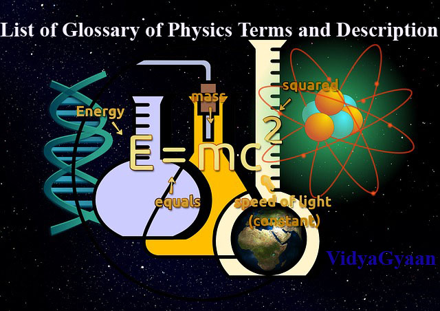Glossary of Physics Terms and Description