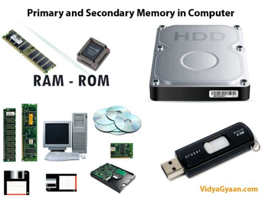 Computer Memory - Primary and Secondary Memory in Computer