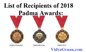 List of Recipients of 2018 Padma Awards