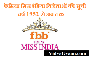 फेमिना मिस इंडिया विजेताओं की सूची