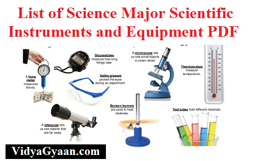 List of Science Major Scientific Instruments and Equipment PDF