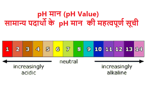 pH मान (pH Value)| सामान्य पदार्थो के pH मान की महत्वपूर्ण सूची