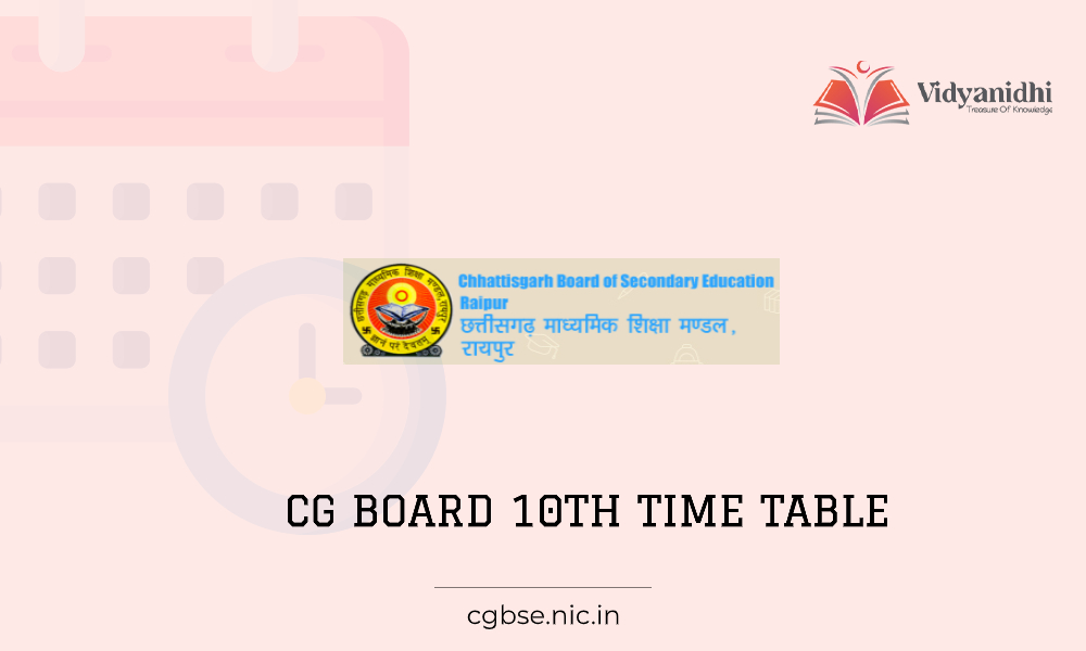 CGBSE 10th Exam date sheet- time table 2021