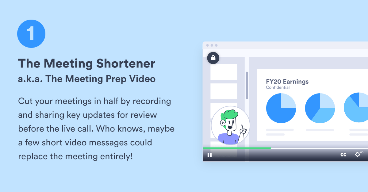 """a graphic for """"The Meeting Shortener"""" type of asynchronous video"""