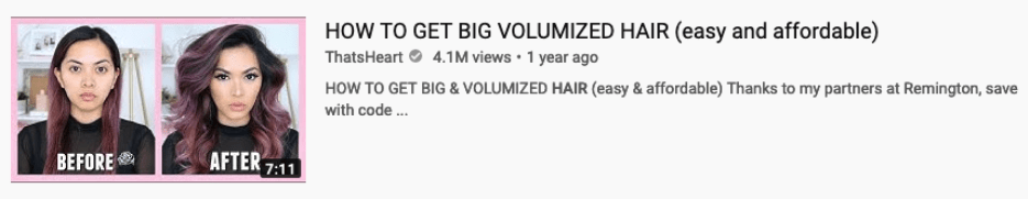 screenshot of a how to video thumbnail for how to get volumized hair