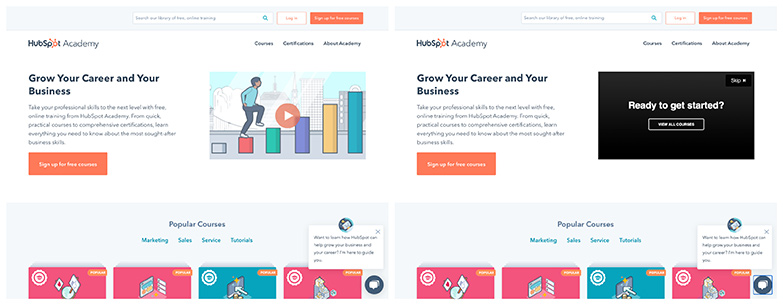 a video landing page example from HubSpot Academy shows what a video CTA can look like