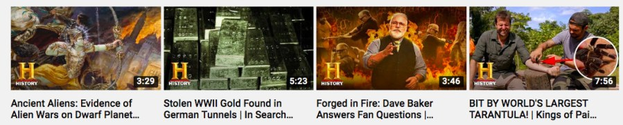 video thumbnail examples from the History Channel featuring their branding