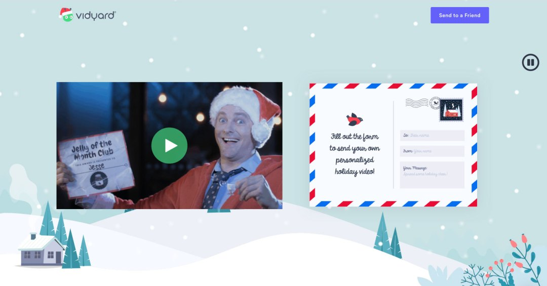 the landing page for Vidyard's 2019 holiday campaign
