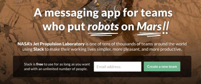 Slack home page robots on Mars