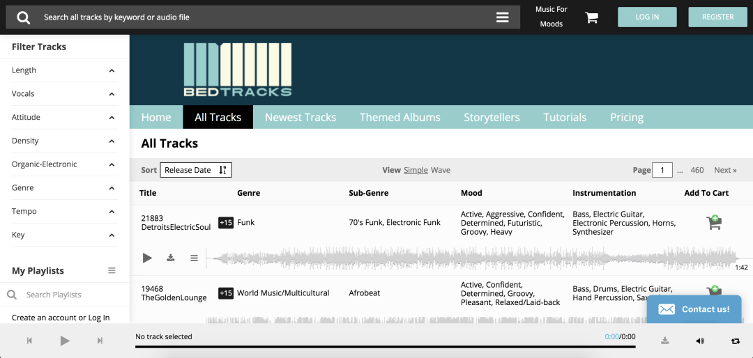 screenshot of Bedtracks