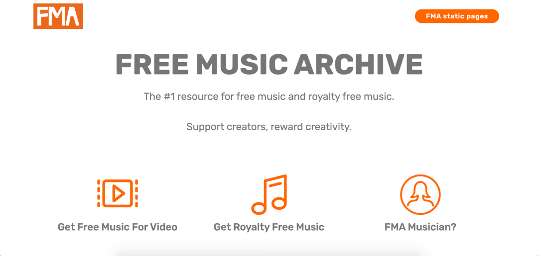 screenshot of Free Music Archive
