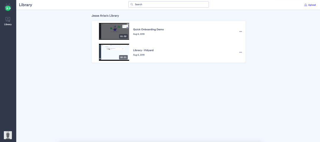 Screenshot of Vidyard Free, a tool for video hosting, embedding, and management