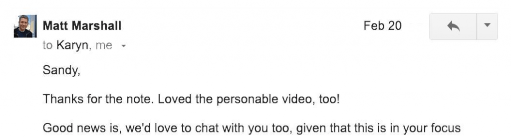 Sandy video pitch email response