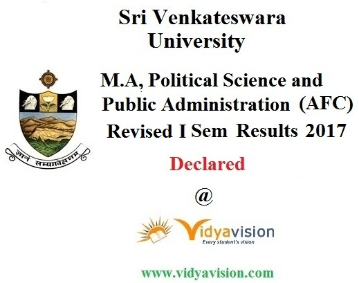 SVU M.A Political Science and Public Admn 1st Sem Results 2017