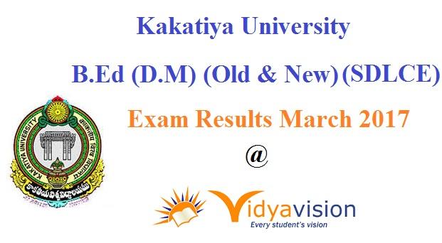 Kakatiya University B.Ed Exam Results 2017