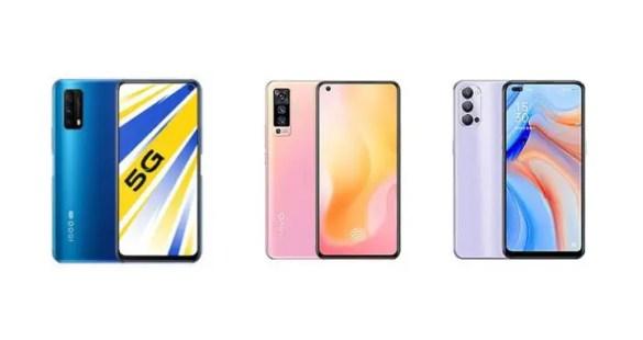 Various models of Vivo iQOO Z1x- List of Best 5G Phones Under 20,000  in 2021.