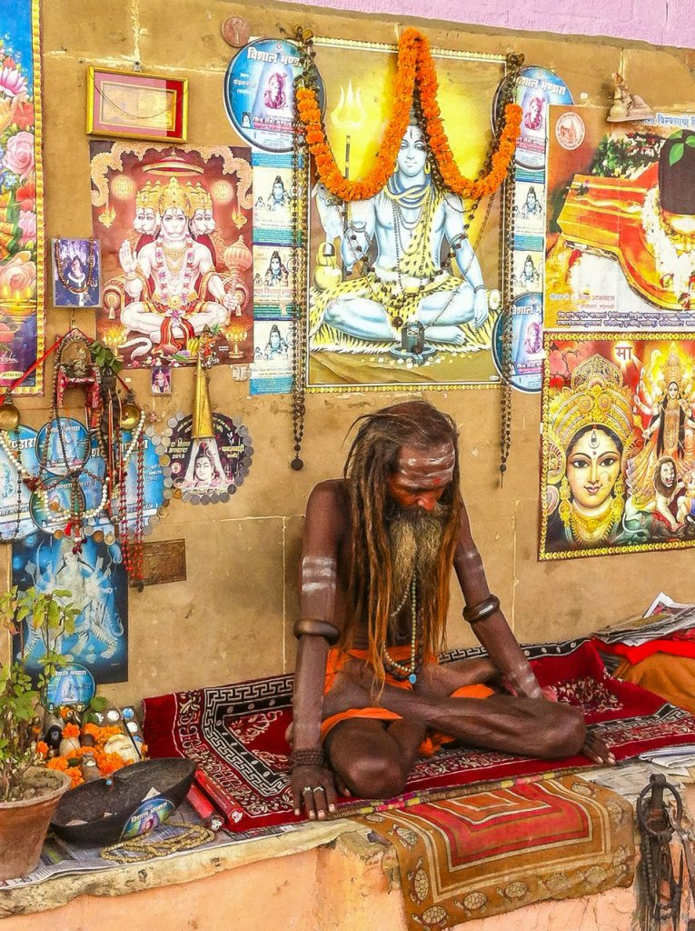 Varanasi, India- December  27, 2013: Indian Sadhu Practicing Yog