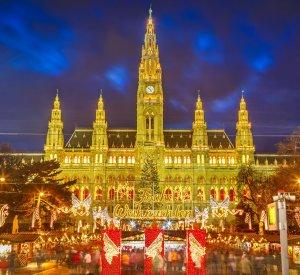 Vienna Rathaus and Christmas Market in Vienna, Austria