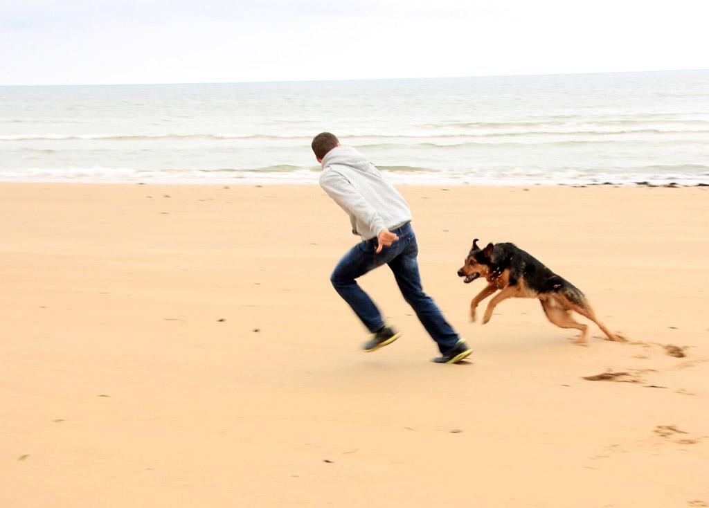 Foto eines am Strand rennenden Mannes mit Hund
